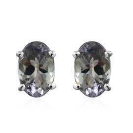 9K White Gold 0.50 Ct AA Natural Green Tanzanite Solitaire Stud Earrings (with Push Back)