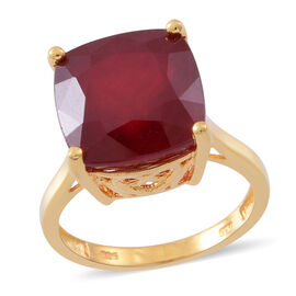 Collectors Edition-Very Rare Size AAA African Ruby (Cush) Ring in 14K Gold Overlay Sterling Silver 18.250 Ct.