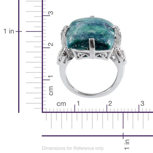 Table Mountain Shadowkite (Cush 19.50 Ct), Diamond Ring in Platinum Overlay Sterling Silver 19.550 Ct.
