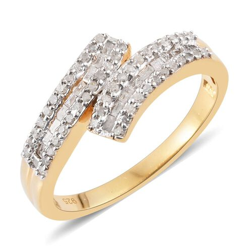 Diamond (Rnd) Crossover Ring in 14K Gold Overlay Sterling Silver 0.500 Ct.