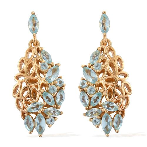 Paraiba Apatite (Mrq) Earrings (with Push Back) in 14K Gold Overlay Sterling Silver 2.500 Ct.