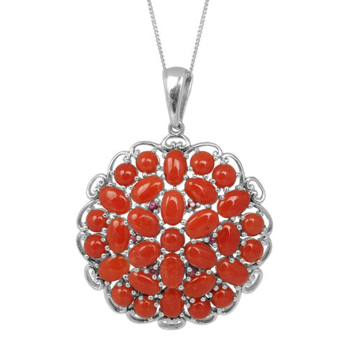 Natural Mediterranean Coral (Ovl), Rhodolite Garnet Cluster Pendant With Chain in Platinum Overlay Sterling Silver 7.500 Ct.