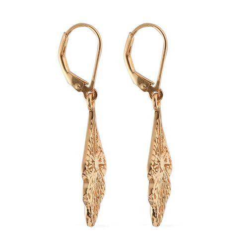 14K Gold Overlay Sterling Silver Lever Back Earrings, Silver wt 4.40 Gms.