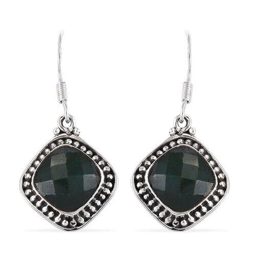 Enhanced Emerald (Cush) Hook Earrings in Sterling Silver 9.950 Ct.