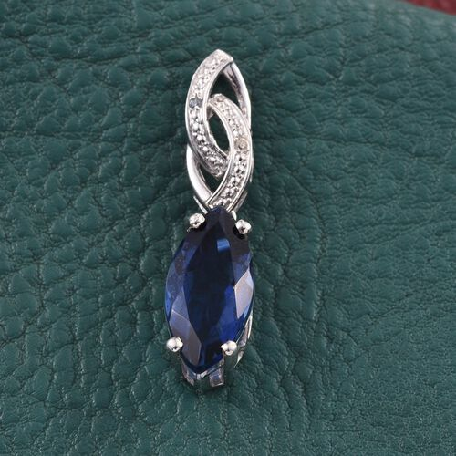 Ceylon Colour Quartz (Mrq 4.50 Ct), Natural Cambodian Zircon Pendant in Platinum Overlay Sterling Silver 4.520 Ct.