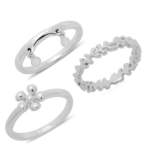 Set of 3 - LucyQ Splat ,Flower, Double Drip Ring in Rhodium Plated Sterling Silver