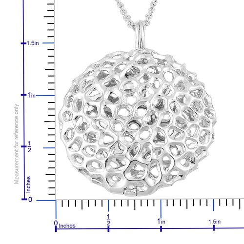 RACHEL GALLEY Rhodium Plated Sterling Silver Disc Locket Pendant With Chain (Size 30), Silver wt 20.02 Gms.