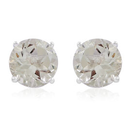 Easter Mega Deal-Green Amethyst (Rnd) Stud Earrings (with Push Back) in Sterling Silver 3.350 Ct.