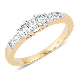ILIANA 18K Yellow Gold IGI Certified 0.50 Ct Diamond Princess Cut SI H Ring