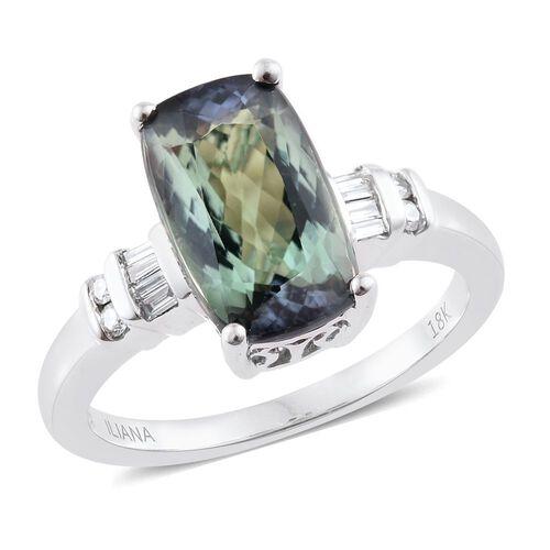 ILIANA 18K White Gold 4.17 Ct Very Rare AAA Peacock Tanzanite Cushion Ring with Diamond SI G-H