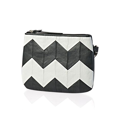 Genuine Leather Zig Zag Pattern Black and White Colour Pouch (Size 18.5x13.5 Cm)