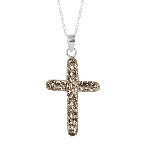 AAA Grey Austrian Crystal (Rnd) Cross Pendant With Chain in Sterling Silver
