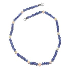 Tanzanite (Rnd), Ethiopian Welo Opal Beads Necklace (Size 18) in Sterling Silver 64.000 Ct.