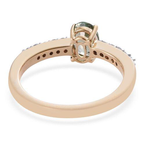ILIANA 18K Yellow Gold 0.98 Ct AAA Green Sapphire Ring with Diamond SI-GH