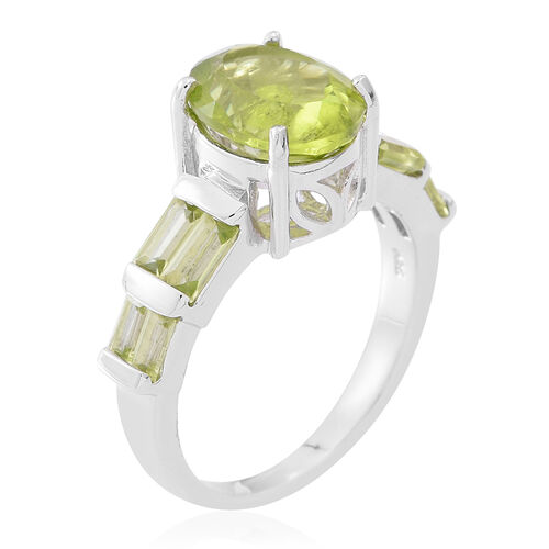 Rare Size Hebei Peridot (Ovl 4.00 Ct) Ring in Rhodium Plated Sterling Silver 5.250 Ct. Silver wt 5.20 Gms.