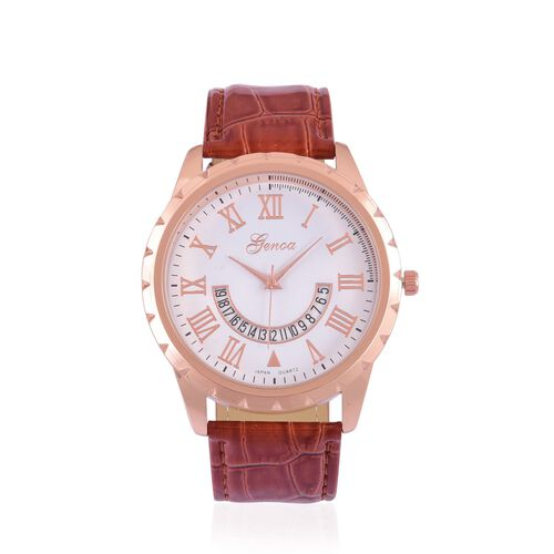 GENOA Japanese Movement White Dial Water Resistant Watch in Rose Gold Tone with Stainless Steel Back and Chocolate Colour Strap