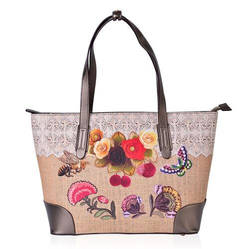 Limited Edition- Beauty East Floral and Butterfly Pattern Water Resistant Tote Bag (Size 44X34X26X14.5 Cm)