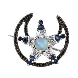 GP Ethiopian Welo Opal (Rnd), Kanchanaburi Blue Sapphire and Multi Gemstone Moon and Star Brooch in Platinum Overlay Sterling Silver 3.000 Ct. Silver wt 5.40 Gms. Number of Gemstone 100