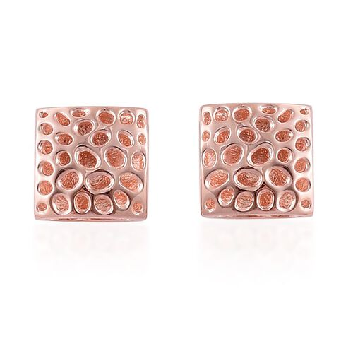 RACHEL GALLEY Rose Gold Overlay Sterling Silver Memento Diamond Square Cufflinks, Silver wt 7.86 Gms.
