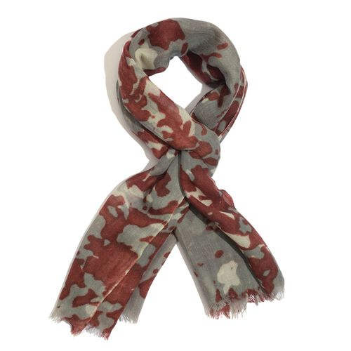 100% Merino Wool Woven Brown and Grey Colour Scarf (Size 175x70 Cm)