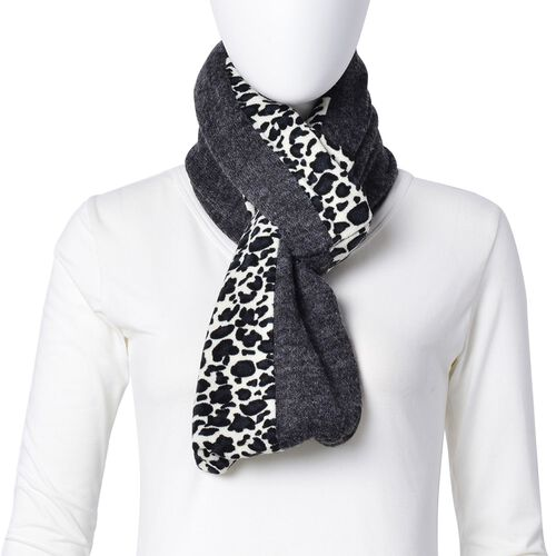Limited Available-Grey, Black and White Colour Leopard Pattern Infinity Scarf (Size 74x26 Cm)