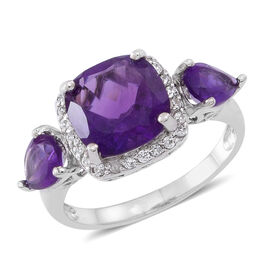 Amethyst (Cush 3.60 Ct), Natural White Cambodian Zircon Ring in Rhodium Plated Sterling Silver 5.000 Ct.