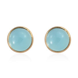 Aqua Chalcedony 2.75 Ct Silver Solitaire Stud Earrings in Gold Overlay (with Push Back)