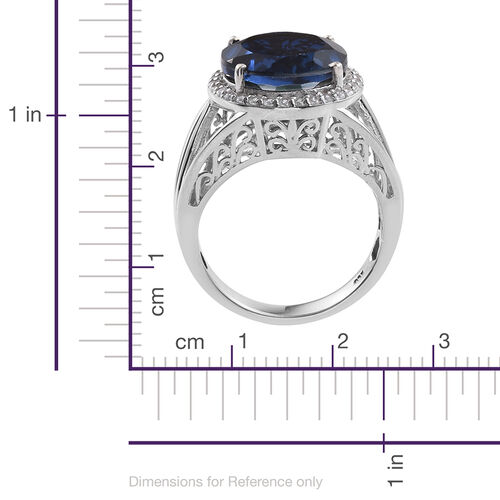 Ceylon Colour Quartz (Rnd 7.75 Ct), Natural Cambodian Zircon Ring in Platinum Overlay Sterling Silver 8.000 Ct.