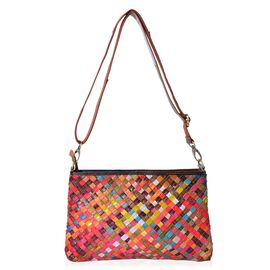 Designer Inspired-Genuine Leather Multi Colour Hand Weaving Crossbody Bag with Adjustable and Removable Shoulder Strap (Size 30x19.5x4.5 Cm)