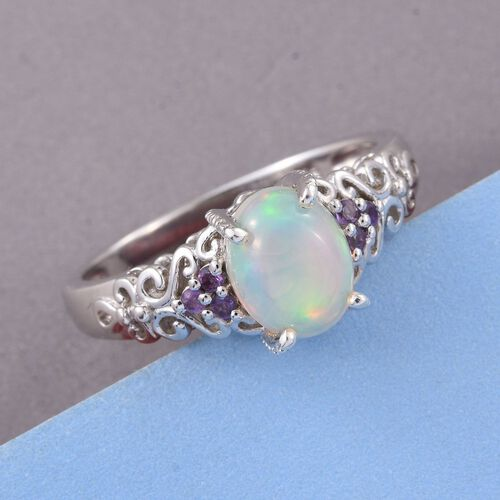 Ethiopian Welo Opal (Ovl), Zambian Amethyst Ring in Platinum Overlay Sterling Silver 1.500 Ct.