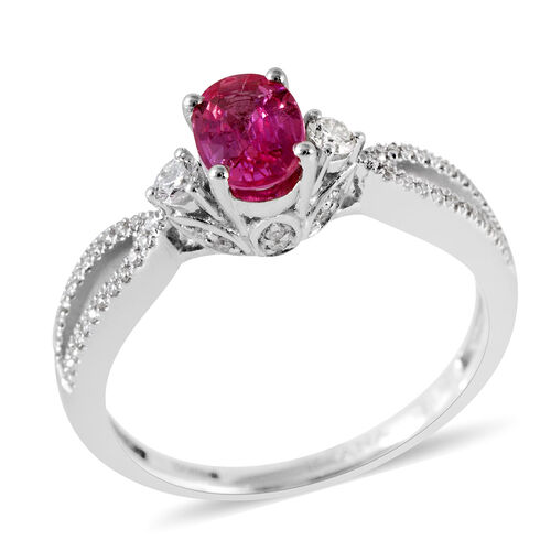 ILIANA 18K White Gold AAA Pink Sapphire (Ovl), Diamond (SI/G-H) Ring 1.190 Ct.