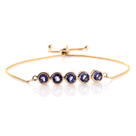 9K Yellow Gold 2.50 Ct AA Tanzanite 5 Stone Bolo Bracelet (Size 6.5 ot 8.5)