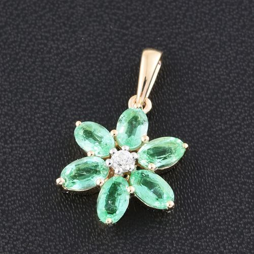 9K Y Gold AAA Boyaca Colombian Emerald (Ovl), Natural Cambodian Zircon Floral Pendant 1.500 Ct.