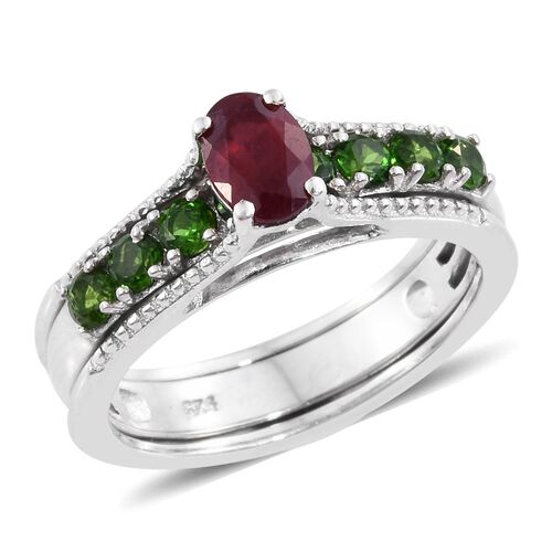 Limited Edition- Set of 3 African Ruby (Ovl 1.20 Ct), Tanzanite and Russian Diopside Interchangeable Stacker Ring in Platinum Overlay Sterling Silver 4.000 Ct. Silver Wt. 11.53 Grams