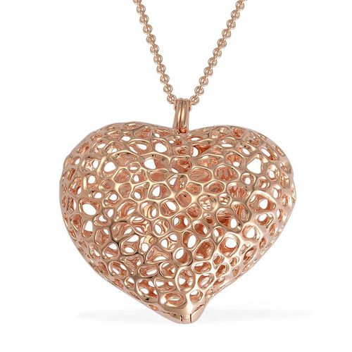 RACHEL GALLEY Rose Gold Overlay Sterling Silver Amore Heart Lattice Locket Necklace (Size 30), Silver wt 33.07 Gms.