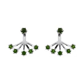 Russian Diopside (Rnd) Earrings (with Push Back) in Platinum Overlay Sterling Silver 1.750 Ct.