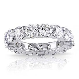 AAA Simulated Diamond (Asscher Cut) Full Eternity Ring in Silver Plated. Equivalent Ct Wt 6.00 Cts