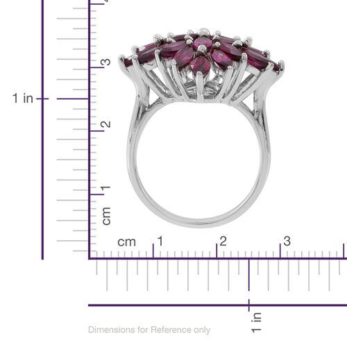 Rhodolite Garnet (Mrq) Cluster Ring in Rhodium Plated Sterling Silver 5.500 Ct.