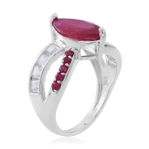 African Ruby (Mrq 3.15 Ct), Burmese Ruby and White Topaz Ring in Rhodium Plated Sterling Silver 4.450 Ct.