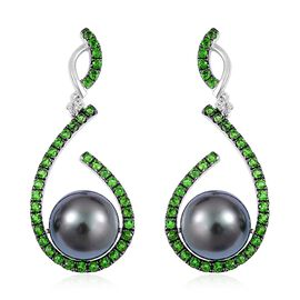GP Tahitian Pearl (Rnd 10-11mm), Madagascar Blue Sapphire, Russian Diopside and Natural Cambodian White Zircon Earrings (with Push Back) in Black Rhodium Plated Sterling Silver