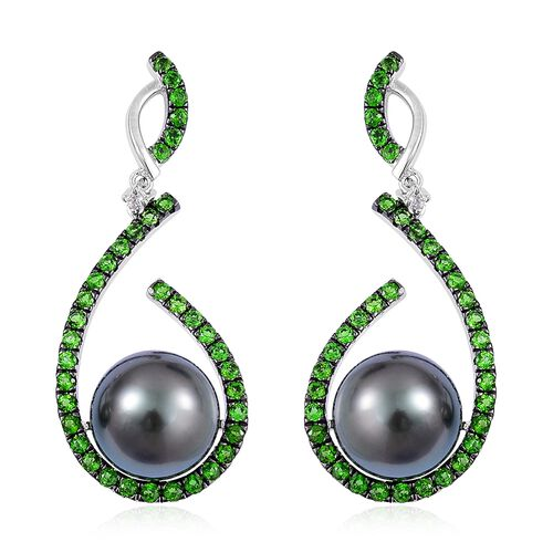 GP Tahitian Pearl (Rnd 10-11mm), Madagascar Blue Sapphire, Russian Diopside and Natural White Cambodian Zircon Earrings (with Push Back) in Black Rhodium Plated Sterling Silver