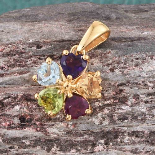 Amethyst (Hrt), Hebei Peridot, Citrine, Rhodolite Garnet and Sky Blue Topaz Floral Pendant in 14K Gold Overlay Sterling Silver 2.500 Ct.