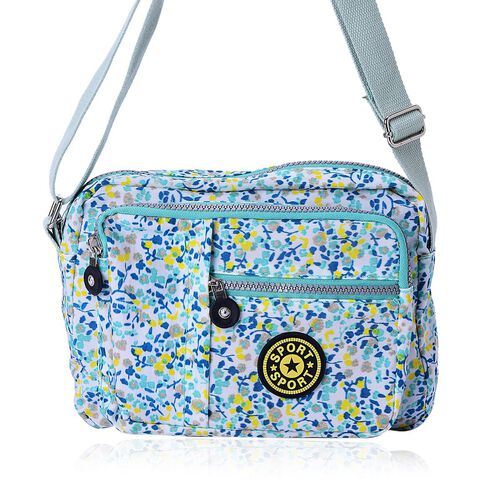 Light Blue and Multi Colour Floral Pattern Waterproof Sports Bag with External Zipper Pocket and Adjustable Shoulder Strap (Size 22.5X17.5X6 Cm)