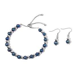 Fresh Water Peacock Pearl (7-8 mm) Adjustable Bracelet (Size 6.5-9.5) and Hook Earrings in Stainless Steel