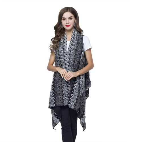 Italian Designer Inspired-Black, White and Multi Colour Zigzag Pattern Longline Gilet(Free Size)