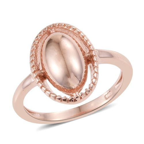 Rose Gold Overlay Sterling Silver Ring, Silver wt. 3.62 Gms.