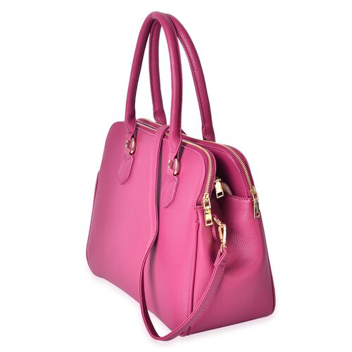 Fuchsia Colour Tote Bag with External Zipper Pocket and Removable Shoulder Strap (Size 36.5X26.5X19 Cm)