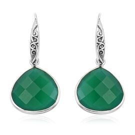 Designer Inspired Verde Onyx (Pear) Hook Earrings in Sterling Silver 16.00 Ct.