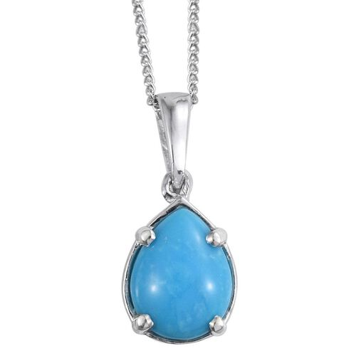 Arizona Sleeping Beauty Turquoise (Pear) Solitaire Pendant with Chain in Platinum Overlay Sterling Silver 1.250 Ct.