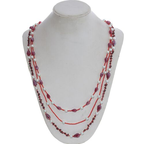 Set of 3 - Jewels of India Glass Pearl, Glass and Mozambique Garnet Beads Necklace (Size 36) 371.040 Ct.